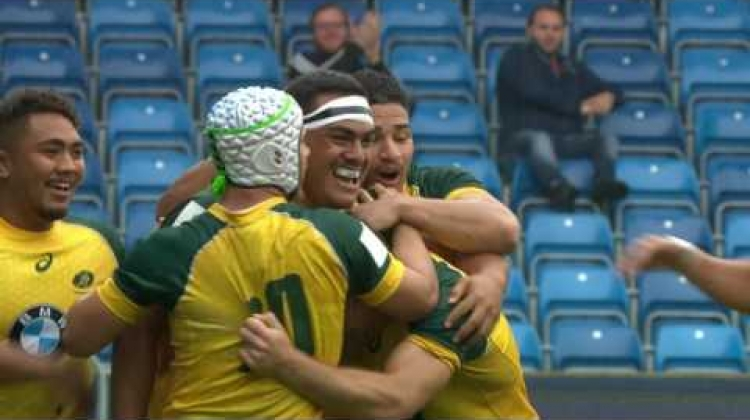Australia U20 beast Vui smashes tackles to score breakaway try!