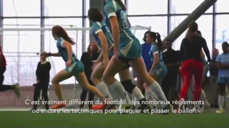 Magali Harvey teaches Montreal football (gridiron) player John Bowman about rugby
