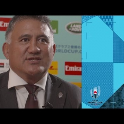 Japan's Jamie Joseph reacts to Rugby World Cup Draw