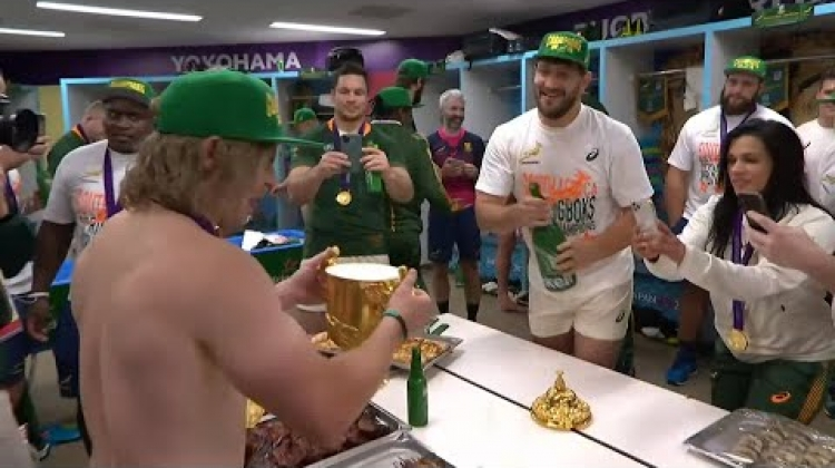 South Africa drink from Webb Ellis Cup to celebrate