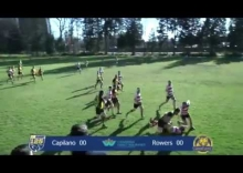 Glenn McKinnon of Capilano RFC charges over VRC's Romain Plantey