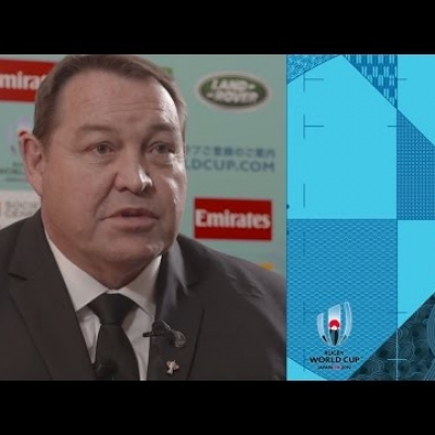 New Zealand's Steve Hansen reacts to Rugby World Cup draw