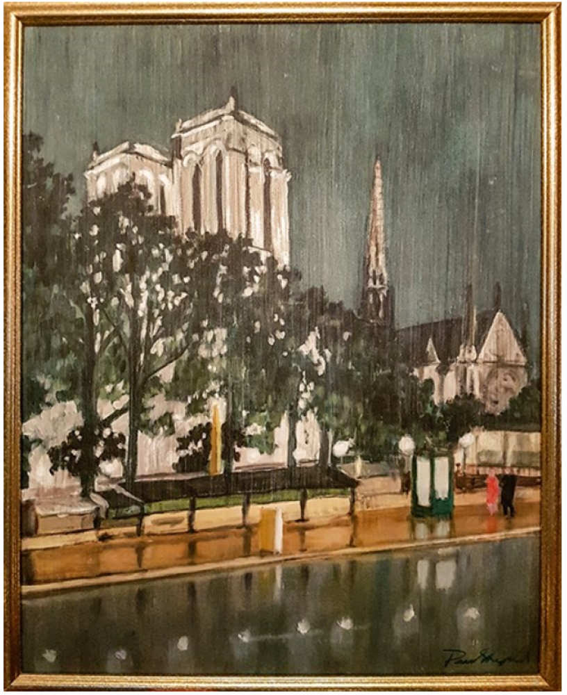 Notre Dame at Night in the Rain